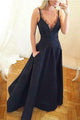 A-Line V-Neck Floor-Length Sleeveless Long Prom Dress with Lace Pockets OHC060 | Cathyprom