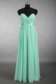 Simple A-line Sweetheart Ruched Chiffon Mint Long Prom Dress Z25