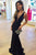 Mermaid Deep V-Neck Sweep Train Black Elastic Satin Prom Dress OHC064 | Cathyprom