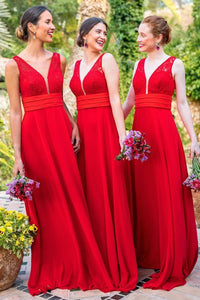 A-Line V-Neck Backless Floor-Length Red Chiffon Bridesmaid Dress with Lace OHS059 | Cathyprom