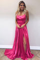 A-Line Spaghetti Straps Lace Up Sweep Train Fuchsia Prom Dress with Split CAD66 | Cathyprom