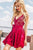 Gorgeous V Neck Red Short Homecoming Dresses with Appliques OHM019 | Cathyprom