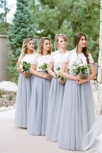 A-Line Crew Short Sleeves Floor-Length Grey Bridesmaid Dress with Lace OHS049 | Cathyprom