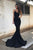 Mermaid Spaghetti Straps Sweep Train Black Stretch Satin Prom dress P19