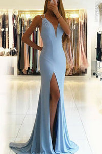Mermaid V-Neck Backless Sweep Train Blue Prom Dress with Split L36 | Cathyprom