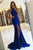 Mermaid Jewel Split Sweep Train Royal Blue Stretch Satin Prom Dress Q98