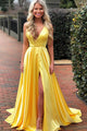 A-Line V-Neck Sweep Train Yellow Satin Prom Dress with Split PD13