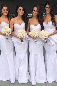 Mermaid Sweetheart Floor-Length White Bridesmaid Dress with Ruffles OHS026 | Cathyprom
