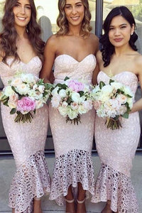 Mermaid Sweetheart Hi-Low Sleeveless Lace Bridesmaid Dress OHS046 | Cathyprom