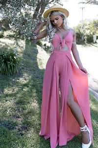 Pink Spaghetti Straps Long Chiffon Prom Jumpsuit with Split Keyhole OHC023 | Cathyprom
