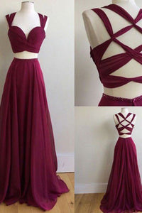 Two Piece Square Sweep Train Criss-Cross Straps Burgundy Chiffon Prom Dress P27