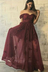 A-Line Off-the-Shoulder Floor-Length Burgundy Appliques Prom Dress OHC043 | Cathyprom