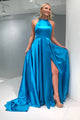 A-Line Crew Open Back Sweep Train Blue Prom Dress with Split PD12