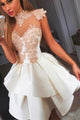 A-Line High Neck Short White Satin Homecoming Dress with Appliques OHM068 | Cathyprom
