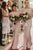 Modest Mermaid Floor Length Chiffon Long Rose Pink Bridesmaid Dress with Sleeves OHS144