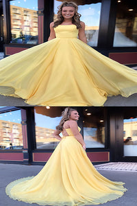 Simple Yellow Chiffon Long Prom Dresses Cross Back Sweep Train Evening Dresses P3