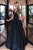 A-Line Spaghetti Straps Floor-Length Black Prom Dress with Pockets LPD89 | Cathyprom