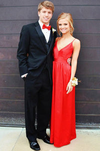 A-line Spaghetti Straps Red Floor-length Stretch Satin Backless Prom Dresses P41