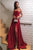A-Line Strapless Sweep Train Red Satin Prom Dress with Split PD1