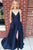 A-Line Spaghetti Straps Sweep Train Dark Blue Satin Prom Dress with Split Pockets CAD61 | Cathyprom