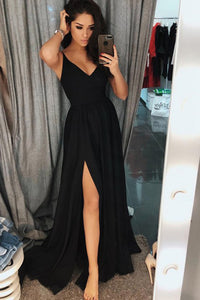 A-Line Spaghetti Straps Floor-Length Black Prom Dress with Split L51 | Cathyprom