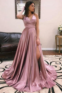 Simple A Line Spaghetti Straps Purple Prom Dresses Long Split Front OVR001 | Cathyprom