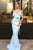 Mermaid Spaghetti Sraps Short Sleeves Floor-Length Blue Prom Dress OHC087 | Cathyprom