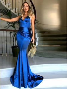 Mermaid Spaghetti Straps Sweep Train Royal Blue Prom Dress OBT001 | Cathyprom