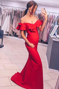 Mermaid Off-the-Shoulder Sweep Train Red Prom Dress with Ruffles LPD95 | Cathyprom
