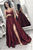 A-Line Spaghetti Straps Sweep Train Burgundy Satin Prom Dress with Pockets Split L53 | Cathyprom