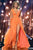 A-Line Deep V-Neck Sweep Train Orange Chiffon Prom Dress with Sash P32
