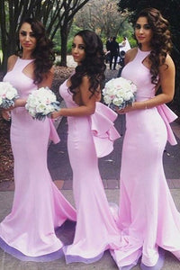 Mermaid Round Neck Backless Pink Bridesmaid Dress with Ruffles OHS025 | Cathyprom
