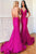 Mermaid Spaghetti Straps Lace Up Sweep Train Fuchsia Prom Dress Z21
