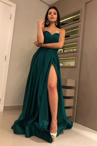 A-Line Sweetheart Sweep Train Dark Green Satin Prom Dress with Split L54 | Cathyprom