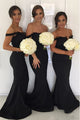 Mermaid Off-the-Shoulder Sweep Train Black Bridesmaid Dress with Appliques OHS023 | Cathyprom