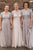 A-Line V-Neck Short Sleeves Floor-Length Grey Bridesmaid Dress with Sequins OHS058 | Cathyprom