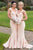 Mermaid Square Sweep Train Champagne Stretch Satin Bridesmaid Dress OHS001 | Cathyprom