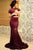 Mermaid Round Neck Short Sleeves Sweep Train Wine Lace Prom Dress OHC090 | Cathyprom