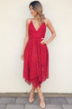 A-line Spaghetti Straps Red Lace Tea-length Prom/Homecoming Dress P39