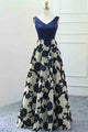 A-Line V-Neck Floor-Length Navy Blue Tulle Sleeveless Prom Dress with Appliques Q79