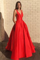 A-Line V-Neck Sleeveless Prom Dress Pockets Party Dress OHC146 | Cathyprom