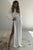 A-Line High Neck Long Sleeves Open Back White Long Split Prom Dress with Sequins LPD86 | Cathyprom