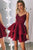 Chic Spaghetti Straps Burgundy Homecoming Dresses with Appliques OHM029 | Cathyprom