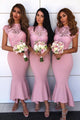 Mermaid Jewel Cap Sleeves Hi-Low Bridesmaid Dress with Lace OHS070 | Cathyprom