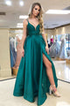 A-Line Spaghetti Straps Floor-Length Green Satin Prom Dress with Split CAD63 | Cathyprom