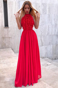 A-Line Jewel Floor-Length Red Chiffon Prom Party Dress with Ruffles OHC028 | Cathyprom