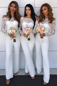White Off-the-Shoulder Long Sleeves Jumpsuit Bridesmaid with Lace OHS067 | Cathyprom