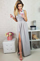 A-Line V-Neck Floor-Length Grey Prom Dress with Appliques OHC051 | Cathyprom