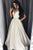 A-Line V-Neck Floor-Length Ivory Beaded Prom Dress with Pockets OHC021 | Cathyprom