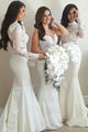 Mermaid High Neck Open Back Long Sleeves White Bridesmaid Dress with Appliques OHS019 | Cathyprom
